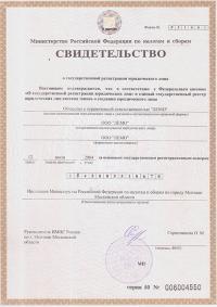 """Свидетльство о государственной регистрации ООО """"Лемо"""""""